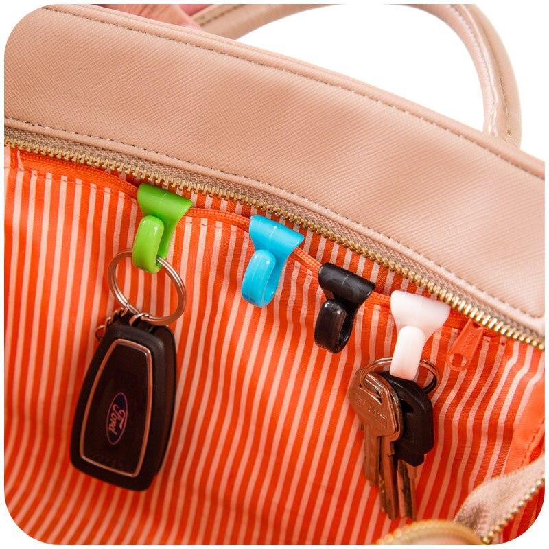 Precise Plastic Home Novelty Mini Cute Creative Anti-lost Hook Within The Bag Key Storage Holder Rack Robe Hooks Bathroom Hardware 2pcs High Quality Robe Hooks