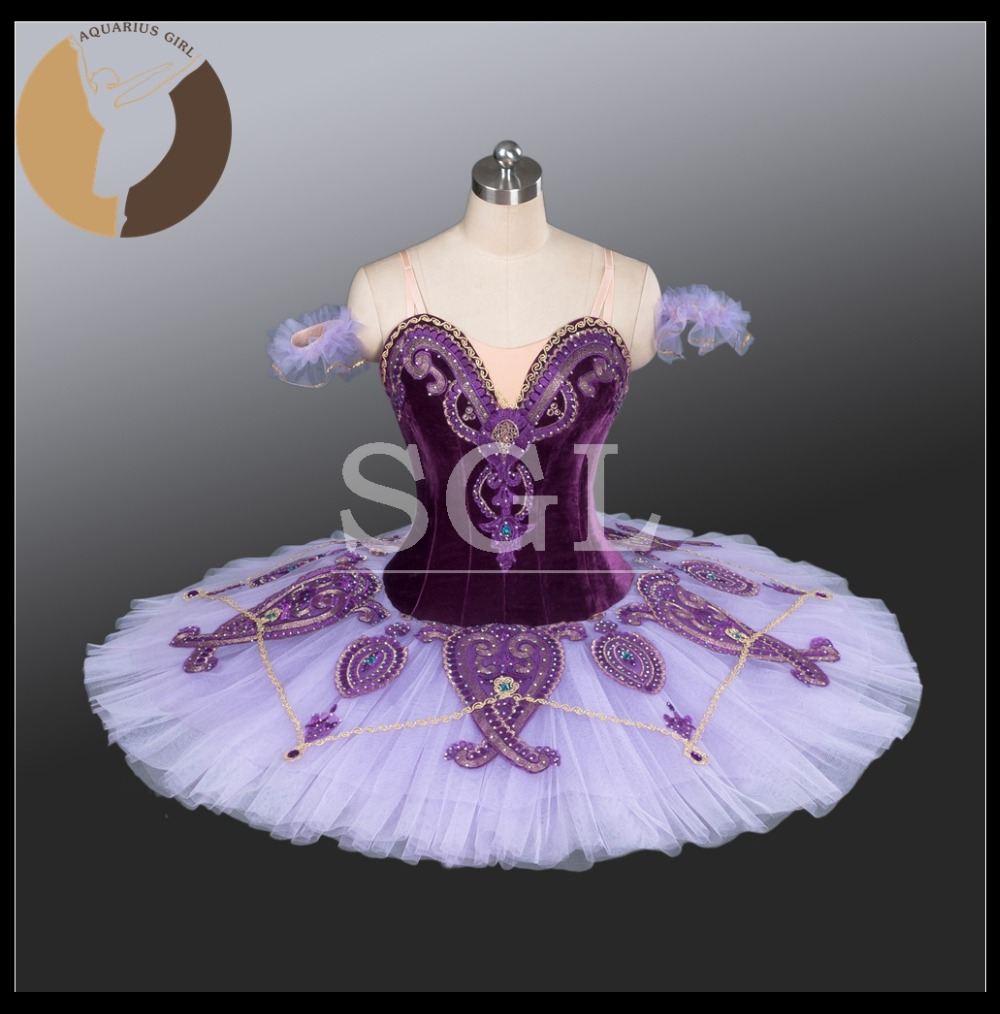 2016 Adult Purple Color Velevt Material Flower Fairy Costumes Girls Classical Ballet Skirt With Hook Ruffles Pants AT1221