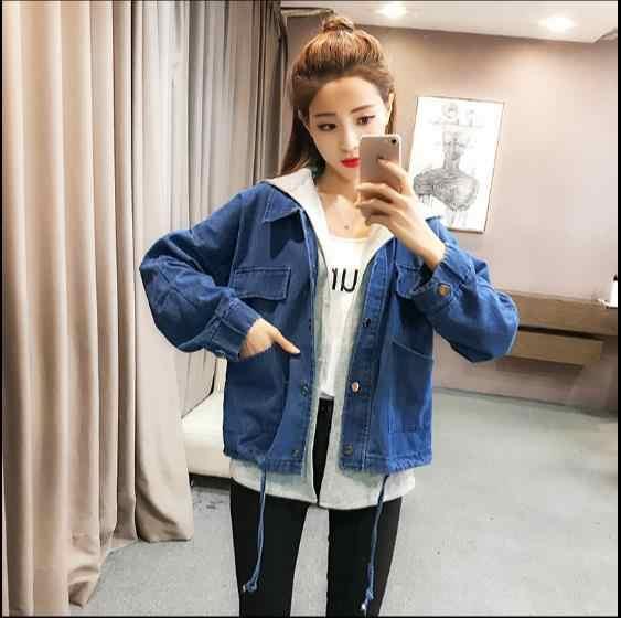 Женская джинсовая куртка с капюшоном, новинка 2019, свободная джинсовая куртка, пальто с длинными рукавами, JR75