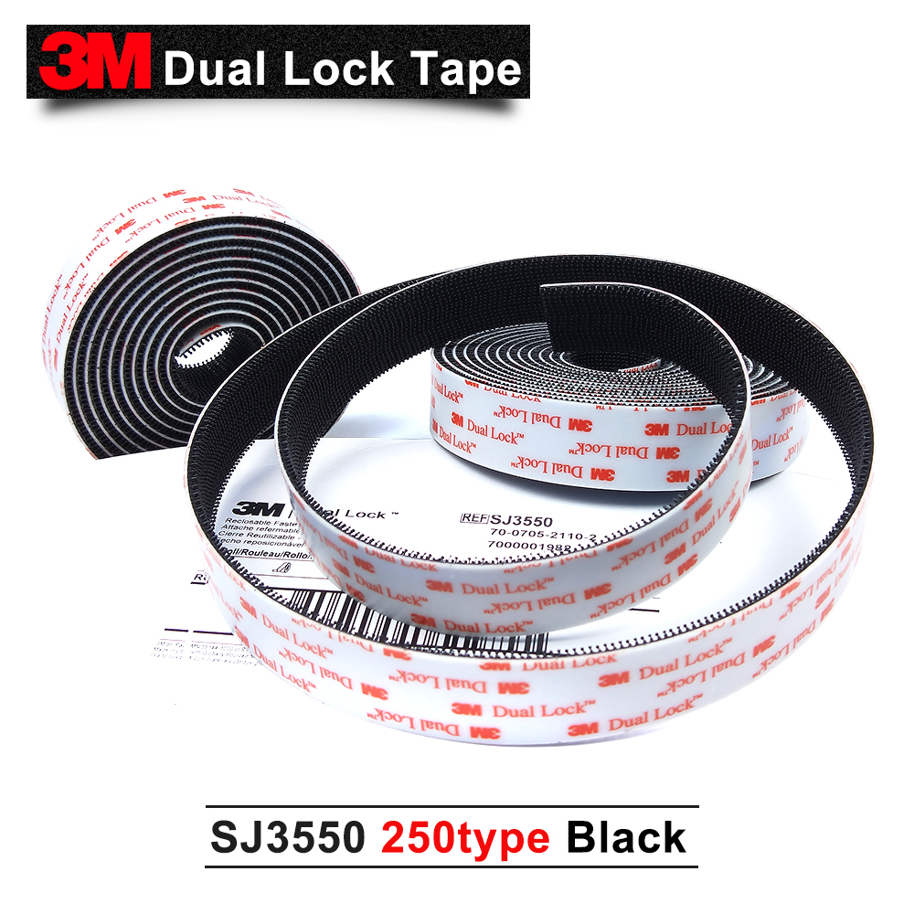 3M Dual Lock SJ3550 Self adhesive tape 250type with black 1in*50yards 2rolls/carton 3m sj3550 self adhesive dual lock black tape with self adhesive dual lock tape 25 4mm 20m