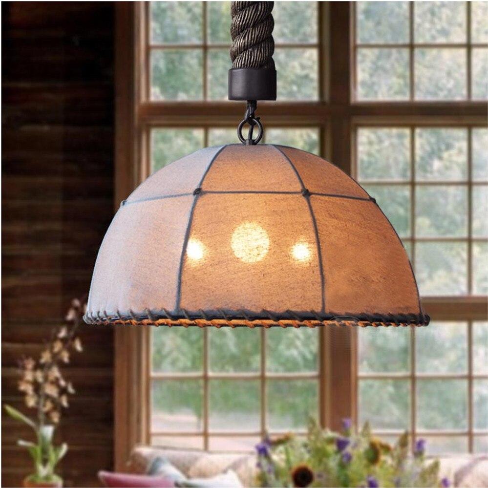 fabric pendant lighting. rustic retro vintage fabric iron lustre pendant light loft lamps home decorative fixture hanging lighting