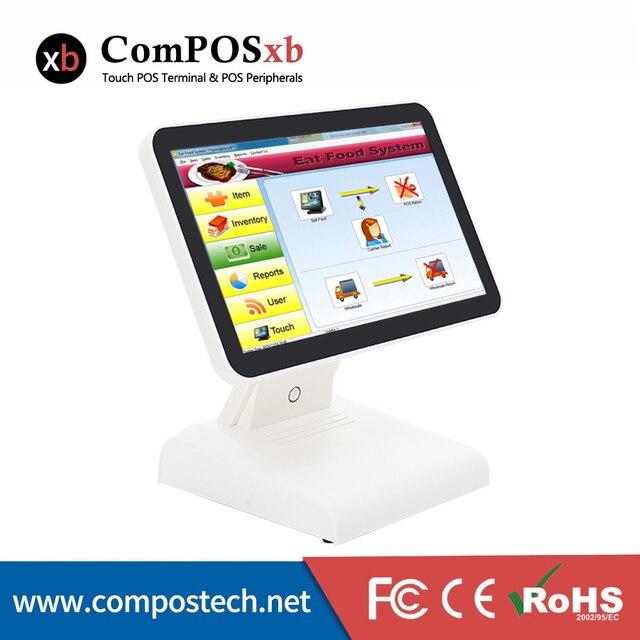 Moniteur LCD tactile plat capacitif, système de point de vente J1900 4 go 64 go avec écran client VFD 15 pouces 1