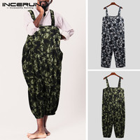 INCERUN Camouflage Print Men Jumpsuit Rompers Pockets Casual Loose Wide Leg Pants Strap Suspenders Overalls Men 2019 Streetwear