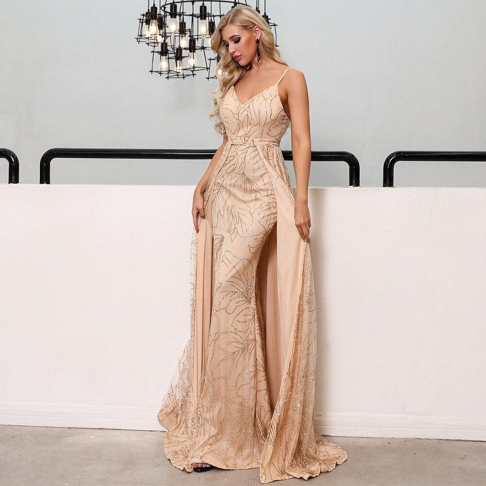 2019-nouveau-chaud-femmes-Sexy-robe élégante à manches longues mousseux rose vadrouille longue robe de dîner