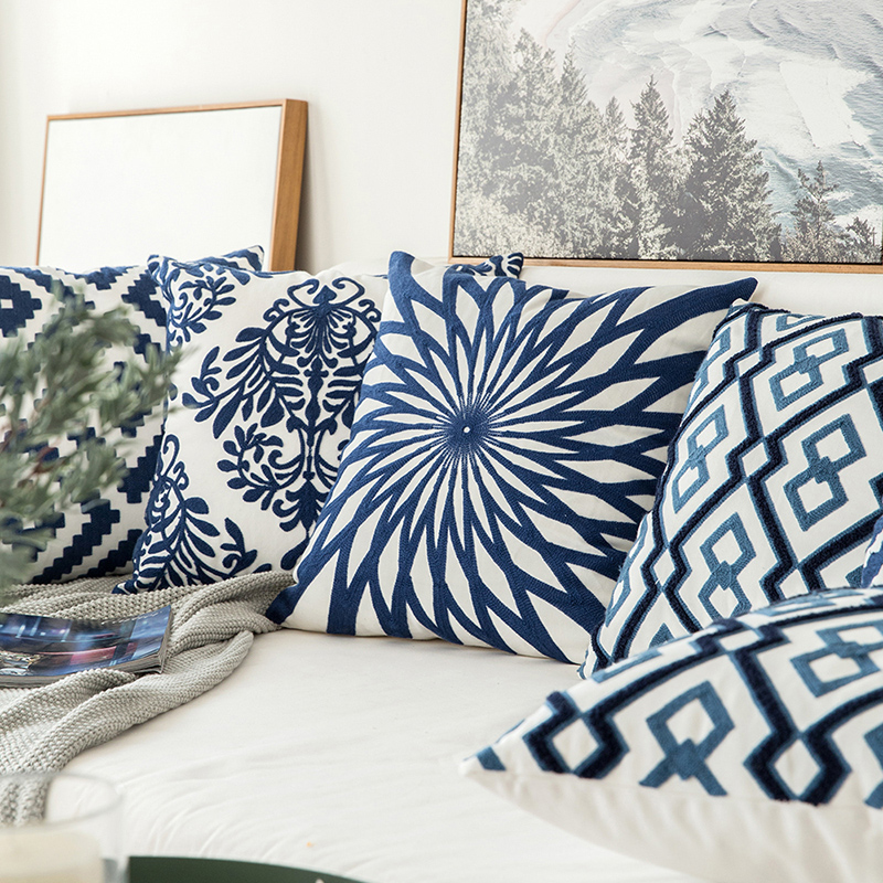 Home Decor Embroidered Cushion Cover Navy Blue/White Geometric Floral Canvas Cotton Suqare Embroidery Pillow Cover 45x45cm