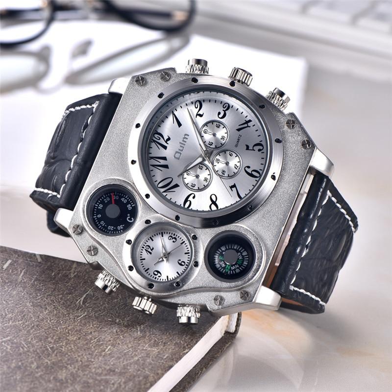 0da59754f9d Oulm Homens Relógios Top Marca de Luxo Dois Fuso Horário Relógio Do Esporte  Relógio de Quartzo Relógio Masculino dos homens Casuais de Couro À Prova D   Água ...