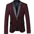 Mens Real Padrão de Coração Vermelho e Listrado Impresso Blazer Slim Fit Homens Blazers One Button Suit Figurinos Para Os Cantores do baile de finalistas 279