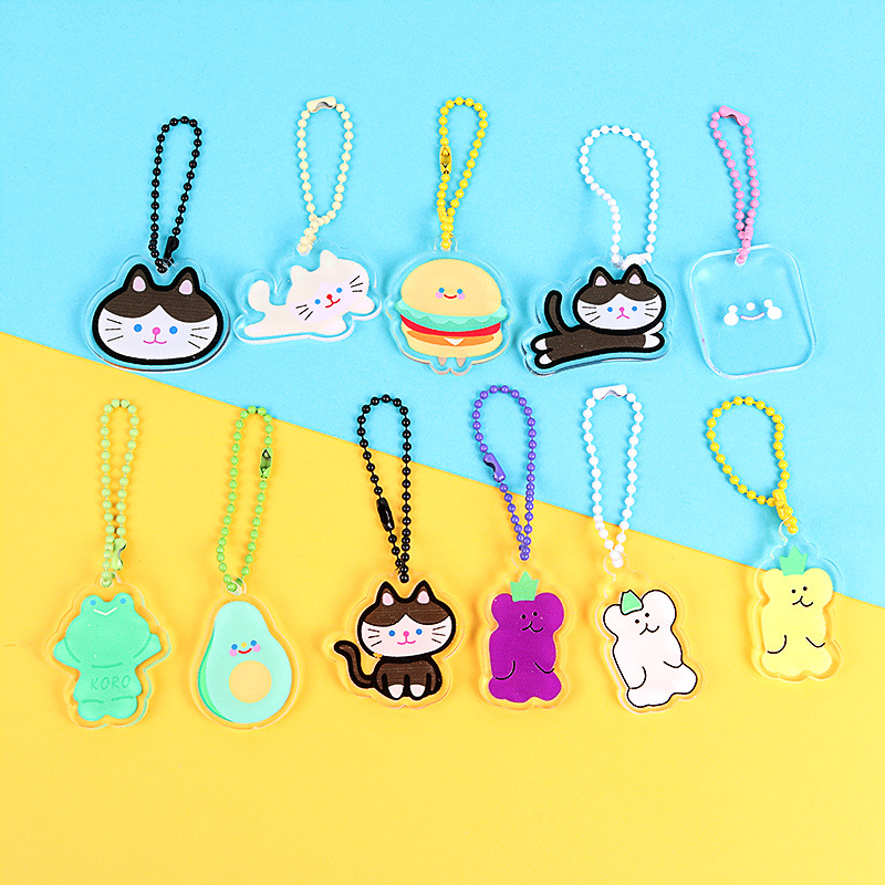 Korean Acrylic Transparent Keychain Kiten Puppy Cloud Cute  Pom Pom Keychain  Wallet Chain  Bag Charm