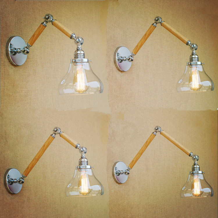 Nordic Loft Style Wooden Swing Long Arm Wall Lamp Vintage Industrial Lighting Fixtures Edison Wall Sconces Lampe Murale Arandela цена