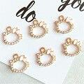10 teile/los Hübsche Mädchen Strass Kitty Charms 13x14mm Zink-legierung Baumeln Ohrringe Anhänger DIY Frauen Schmuck Machen zubehör