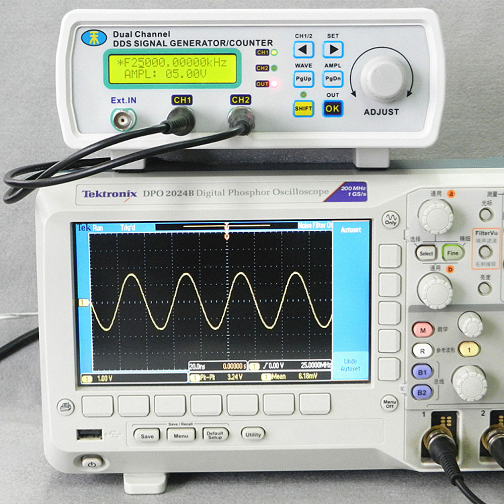 6MHz DDS Dual-channel Signal Source Generator Arbitrary Waveform Frequency Meter Digital 200MSa/s mhs 5212p power high precision digital dual channel dds signal generator arbitrary waveform generator 6mhz amplifier 80khz