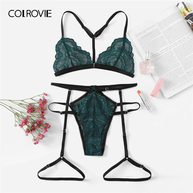 COLROVIE Navy Lace And Mesh Garter Lingerie   Set   New Summer Sexy   Bra     Set   Lace Intimates Green Transparent   Bra   And Panties   Set