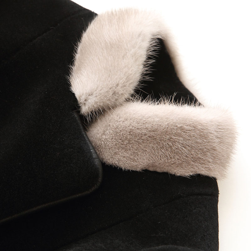 Manteaux 2018 Fourrure Noir Naturel Vison Mouton Réel Femmes Laine Col De Pu Ayunsue Vestes 17996 Manteau Doublure Hiver Yq1551 En Cuir 50wxBSqFRW
