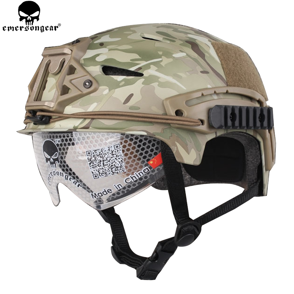 EMERSONGEAR EXF BUMP Helmet with Goggle Glasses Protective Tactical Military Airsoft Paintball Helmet Multicam EM8981
