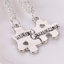 2pcs/set Bff Statement Necklace Best Friends Puzzles Necklaces & Pendants Colar Friendship Pendent Collares Gift For Men Women