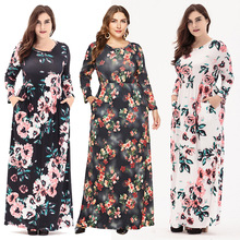 4c8397fef72 New 2019 women long dress spring autumn female desigual loose dresses women  floral maxi full sleeve