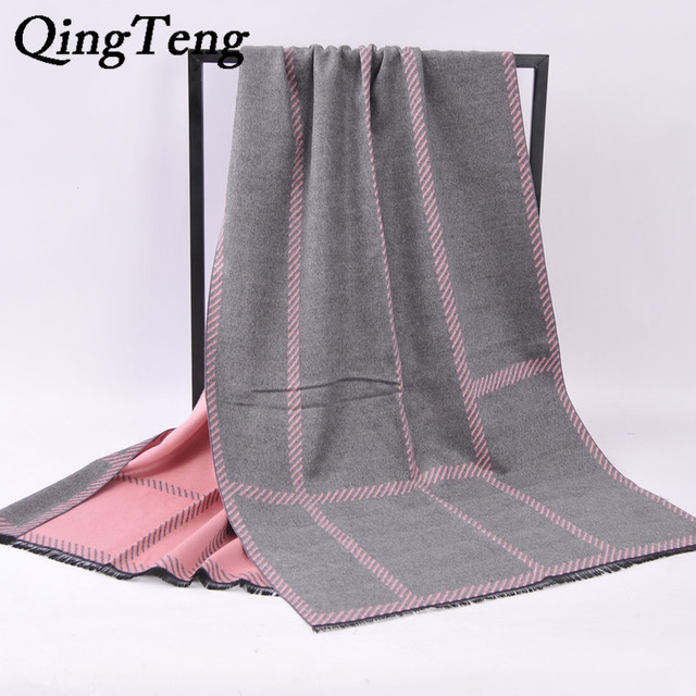 QingTeng Nova Marca Xadrez Cachecol de Caxemira Das Mulheres de Lã De Malha De Grandes Dimensões Quente Verifique Manta de Pashmina Xailes Ponchos E Capas