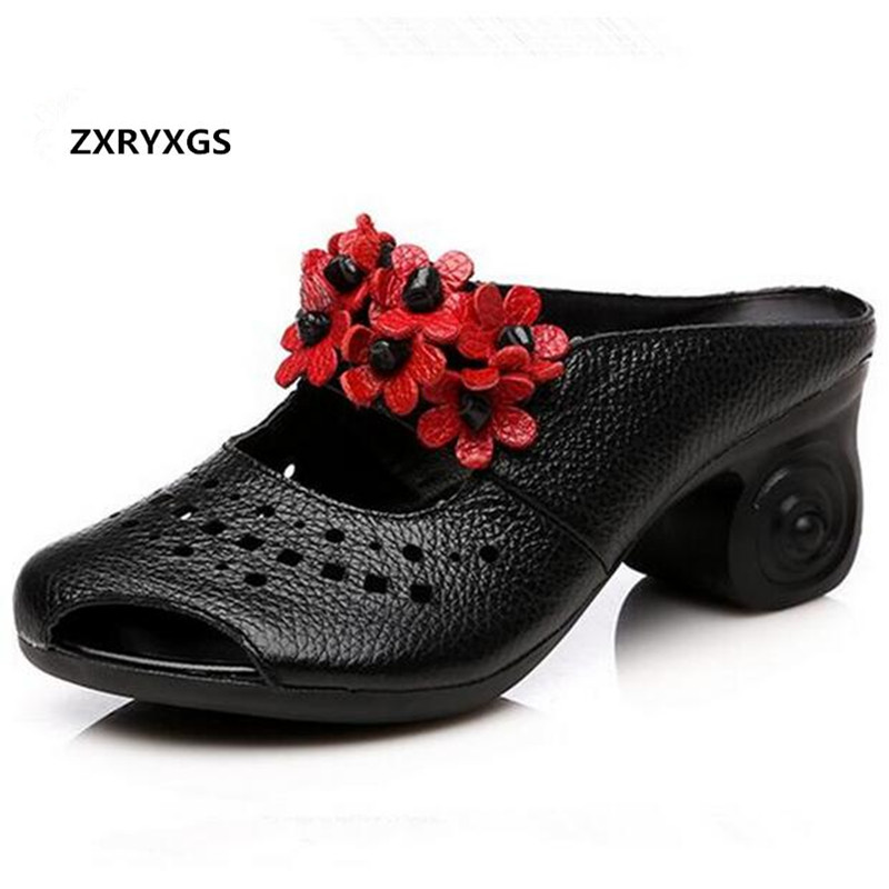 Most Popular Flower Hollow Real Leather shoes Women Sandals 2019 Newest Summer Women Slipper Fashion Sandals