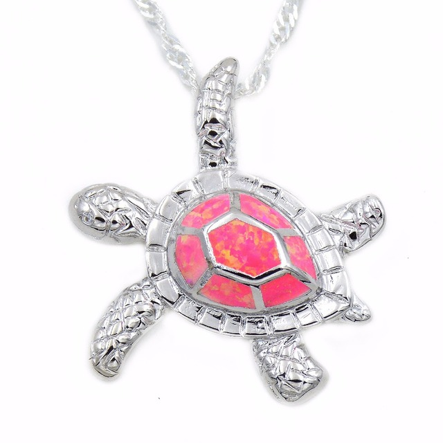 Hot pink fire opal sea turtle pendant necklace with free wave chain hot pink fire opal sea turtle pendant necklace with free wave chain aloadofball Gallery