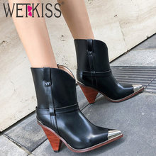 WETKISS Real Genuine Leather Boots Women Shoes Black Pointed toe Ankle Boots Women 10 cm High Heel Boots Ladies Bota Feminina(China)
