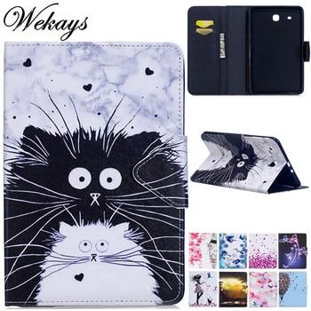Wekays For Samsung Tab E 9.6 T560 Cartoon Cat Leather Funda Case For Coque Samsung Galaxy Tab E 9.6 T560 T561 Tablet Cover Case vili для samsung galaxy tab e 9 6 black