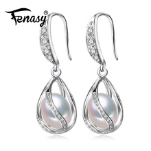 FENASY cage Pearl drop earrings for women Anniversary gift 925 Sterling Silver Jewelry retro tassel