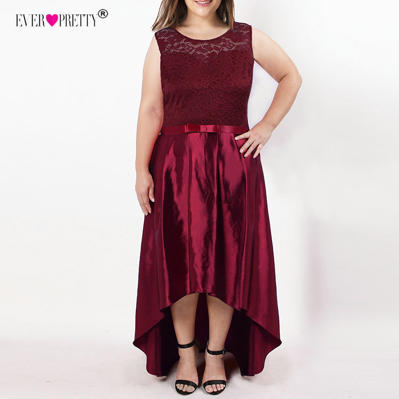 881235daaa5 Plus Size Cocktail Dresses Ever Pretty Elegant Lace A-line Sleeveless High  Low Burgundy Satin Short Party Dresses with Sashes