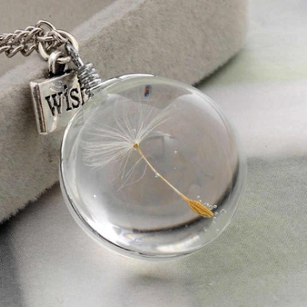 שרשראות שן הארי נדל קריסטל שרשרת זכוכית כדור צורת תליוני שרשרת כסף שרשרת קולר נשים שרשרת מתנה