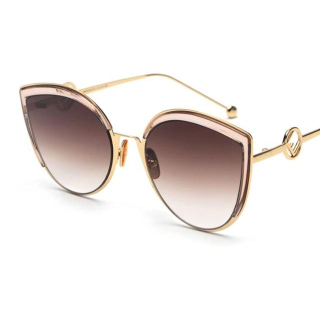 7c3c481e47 2018 New Vintage Sunglasses luxury Cat Eye Sunglasses Lady Brand Designer  Half Frame metal Sun glasses Women men Gradient shades