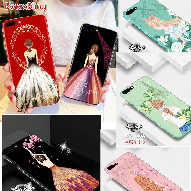 8d6d156c3 BotexBling diamante moda de Luxo vestido de noiva menina soft case de  silicone para iphone 8 8 mais 7 7 mais 6 6 s plus 6 mais cobertura Pavão