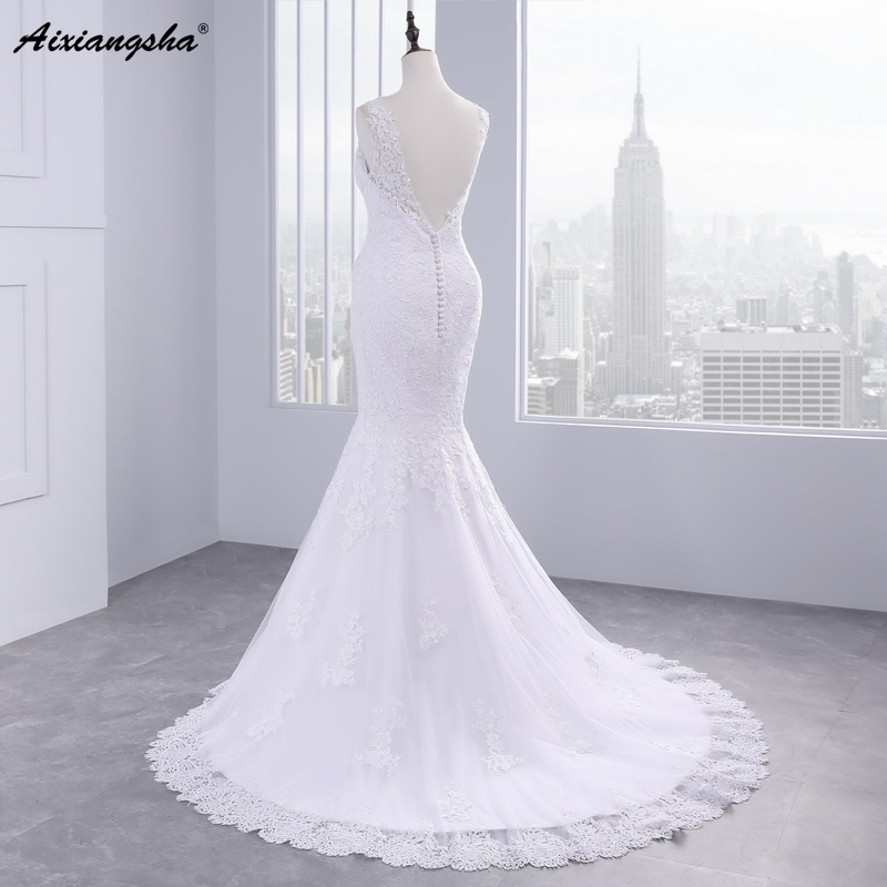 Beautiful Applique Long Mermaid Wedding Dress