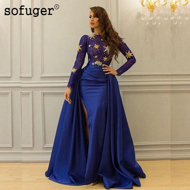 Robe De soirée manches bleu Royal haut fente buste Transparent Sequin étoile Sofuge arabe musulman Occasion spéciale Robe De soirée