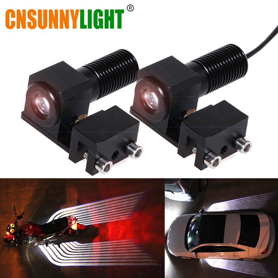 CNSUNNYLIGHT 2pcs Motorcycle LED Decorative Lights Winglike Welcome Projector Logo Shadow Lights Signal Warning Atmophere Lamp