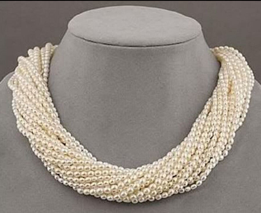 12 strands real charming AAA+ freshwater white pearl necklace 1812 strands real charming AAA+ freshwater white pearl necklace 18