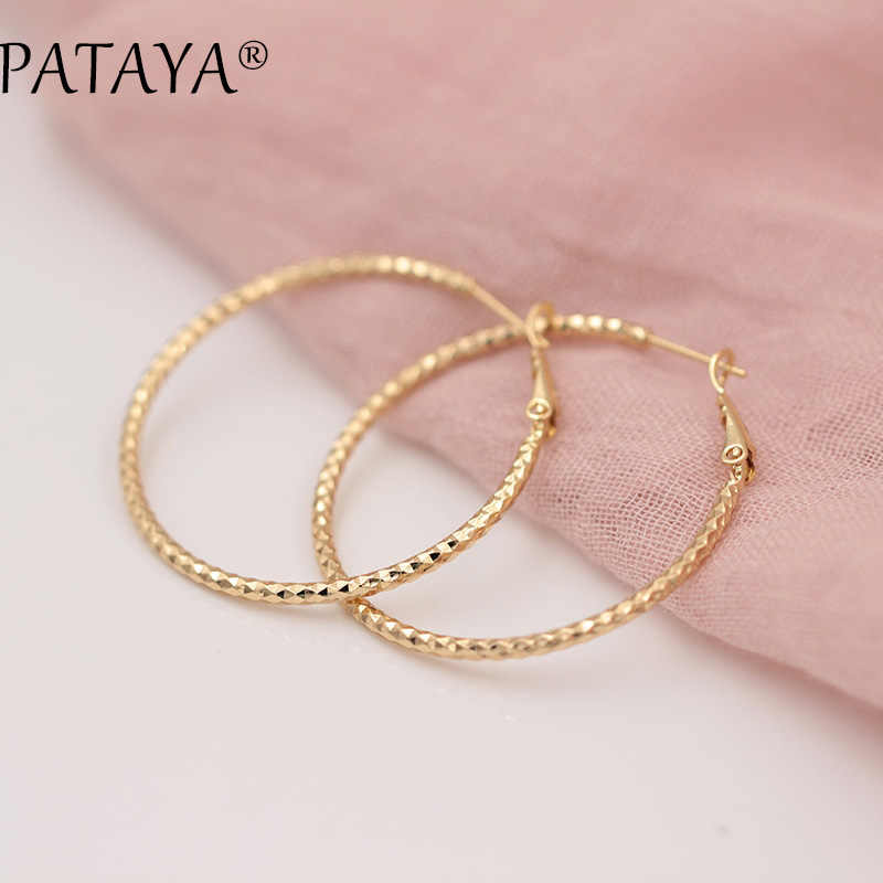 PATAYA New Single Layer Golden Unique Earrings 585 Rose Gold Dangle Wedding Bridal Accessories Bohemian Jewelry Chandelier