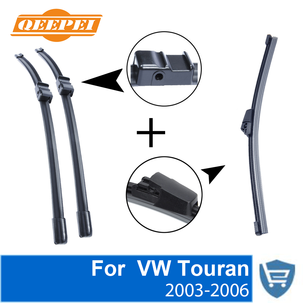 QEEPEI Front and Rear Wiper Blade no Arm For VW Touran 2003 2006 High quality Natural Rubber windscreen 28 39 39 28 39 39 R in Windscreen Wipers from Automobiles amp Motorcycles