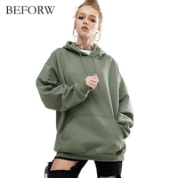 BEFORW 2017 Autumn Winter Sweatshirts Solid Color Cotton Long Sleeve Hooded Sweatshirt Pullover Loose Casual Modal