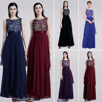 Ladies Evening Dresses 2018 EB27128 Elegant Long Sleeveless O Neck Chiffon A line Cheap Lace Holiday Plus Size Party Gowns