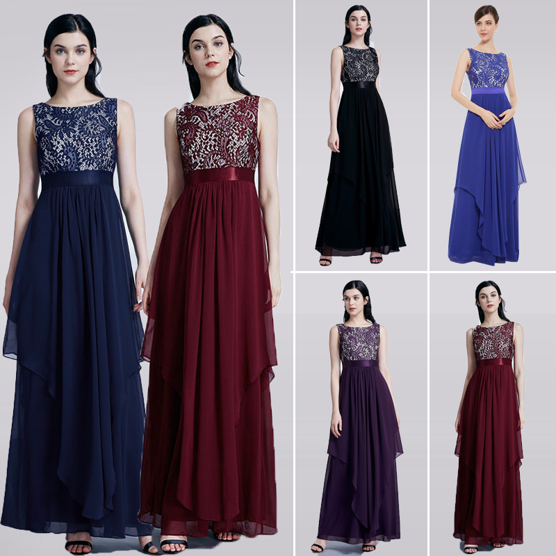 Ladies   Evening     Dresses   2019 EB27128 Elegant Long Sleeveless O-Neck Chiffon A-line Cheap Lace Holiday Plus Size Party Gowns