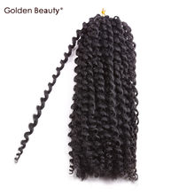12inch Kinky Curly Bob Marley Braid Synthetic Braiding Hair Crochet Hair Extensions Ombre Crochet Braids 2pcs/Pack Golden Beauty(China)