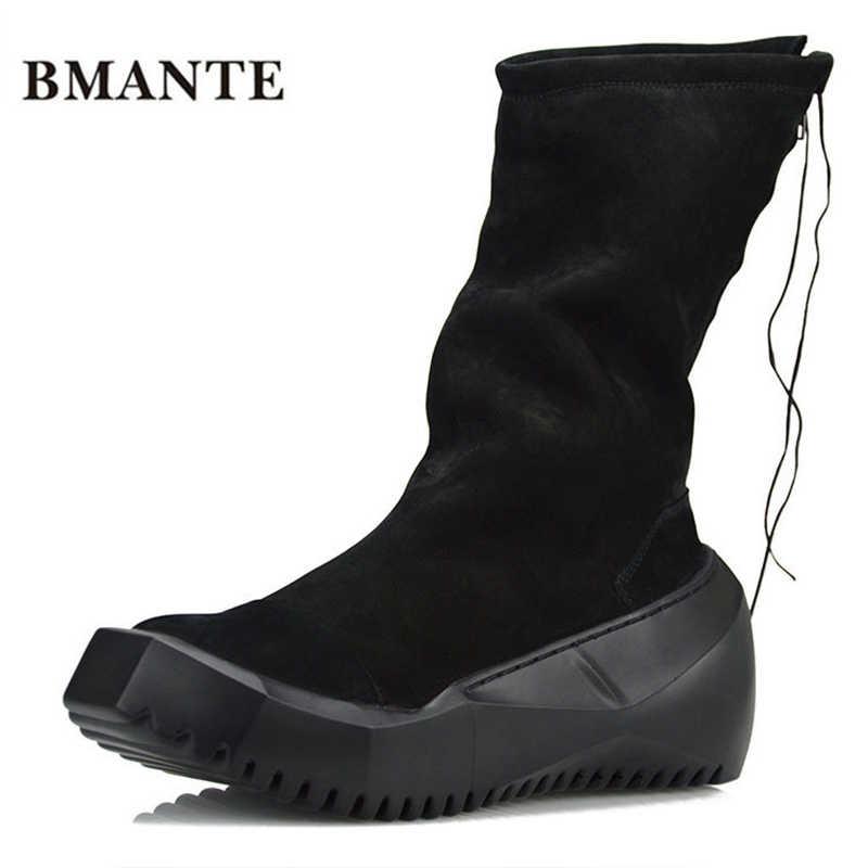 Мужские черные ботинки в байкерском стиле на шнуровке; ботинки в уличном стиле; ботинки на платформе, увеличивающие рост; туфли Харадзюку на толстой подошве для мужчин