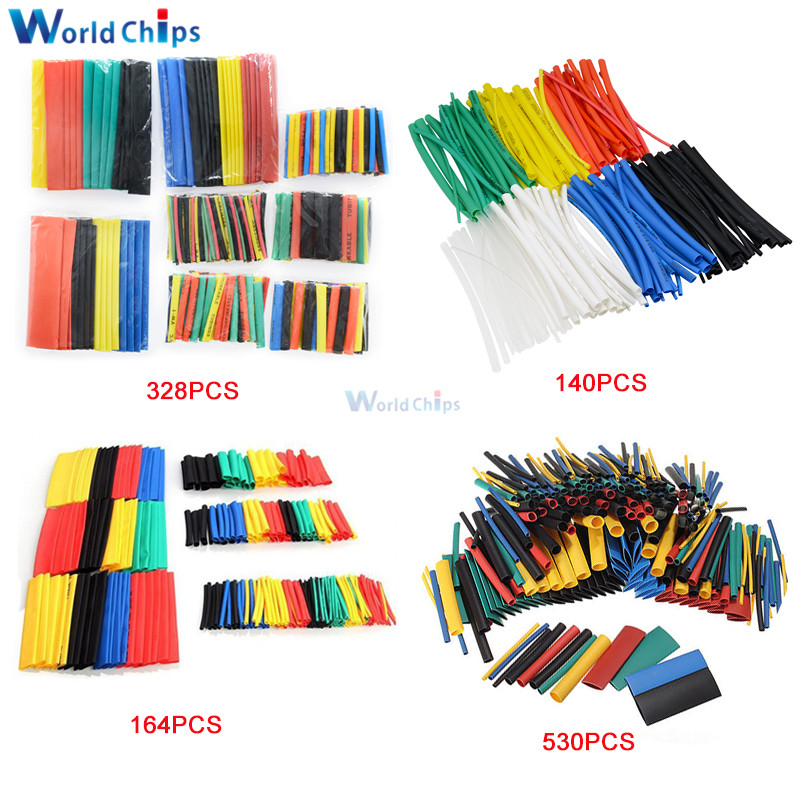 Diymore 127/140/164/328/530Pcs Assorted Polyolefin Heat Shrink Tubing Tube Cable Sleeves Wrap Wire Set 8 Size Multicolor/Black