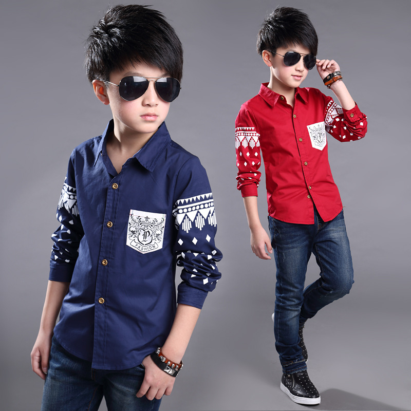 955e14a6cf51f 2017 5-14Y Spring Boys dress Shirt Hot Selling Soft Fashion Children  Clothing Print Navy style Long sleeve Boy Blouses Formal