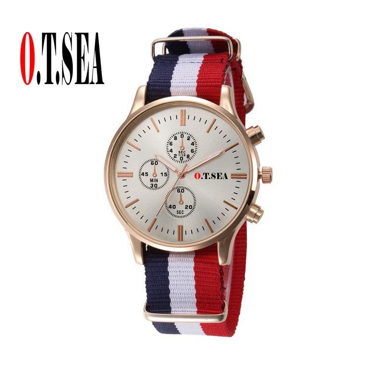 9cadecd0025 แฟชั่นO. T.ทะเลยี่ห้อไนล่อนวงนาฬิกาผู้ชายทหารชุดควอตซ์นาฬิกาข้อมือRelógio  Masculino 9884