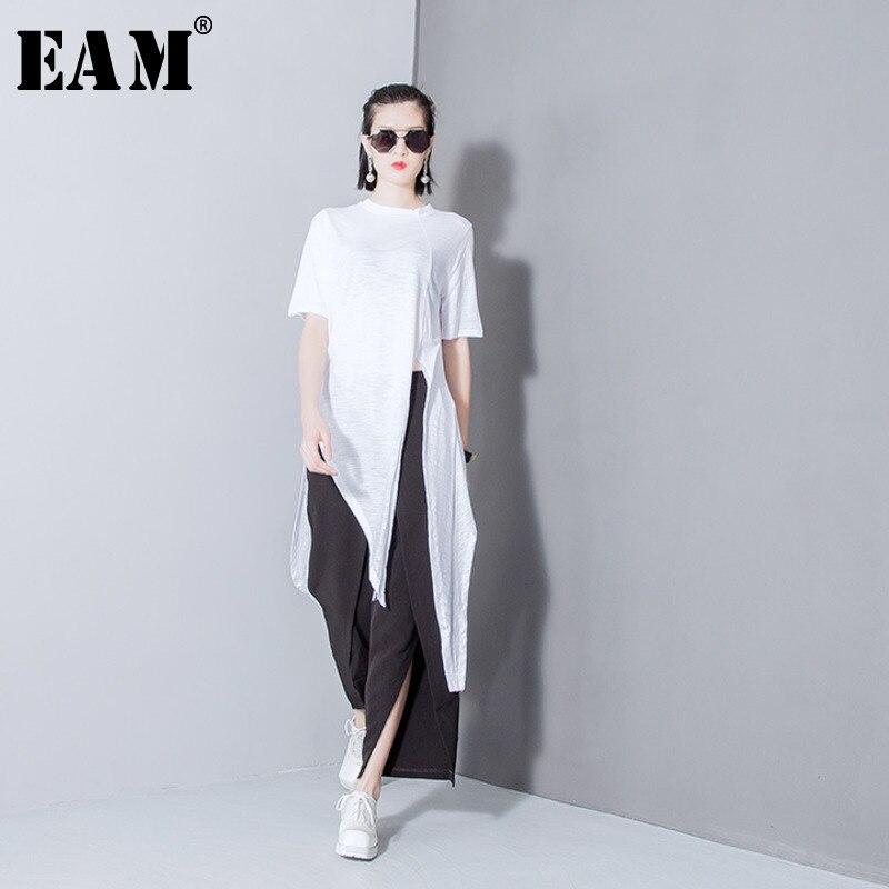 [EAM] 2019 Spring Fashion New Solid Color Split T Shirt Korean Loose Modal  Irregular T Shirts Tops Thin Woman T29800