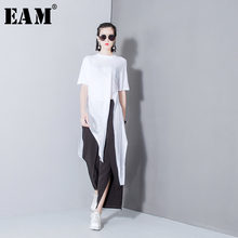 [EAM] 2019 Spring Fashion New Solid Color Split T Shirt Korean Loose Modal Irregular T Shirts Tops Thin Woman T29800(China)