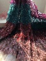 Beautifical красочные 3D перо вышитые с кружевной аппликацией французского фатина кружевной ткани 5 ярдов для свадьбы