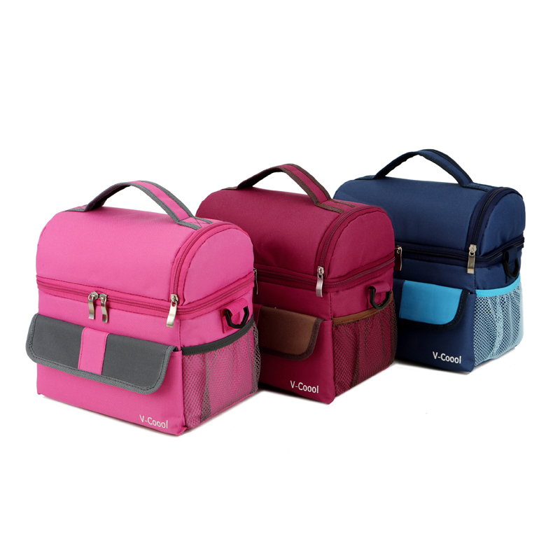 Double Layer Fashion Portable Multifunction Lunch Bag Thermal Food Picnic Lunch Bags For Women Cooler Lunch Box Kids Milk Bag