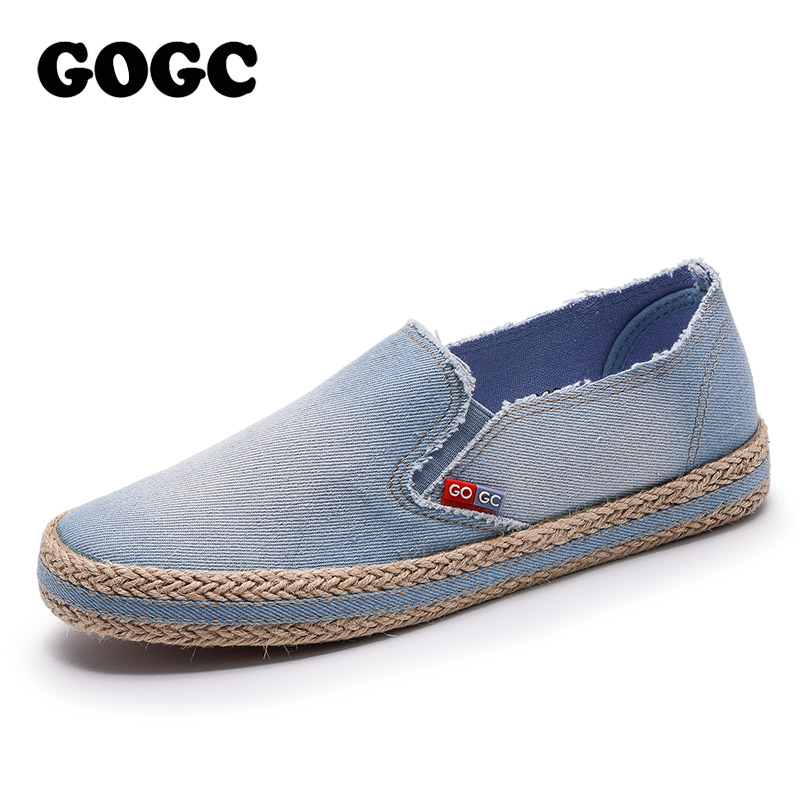 GOGC 2018 New Style Fashion Denim Shoes Women Slipony Comfortable Breathable Women Canvas Shoes Female Footwear Flat Sneakers