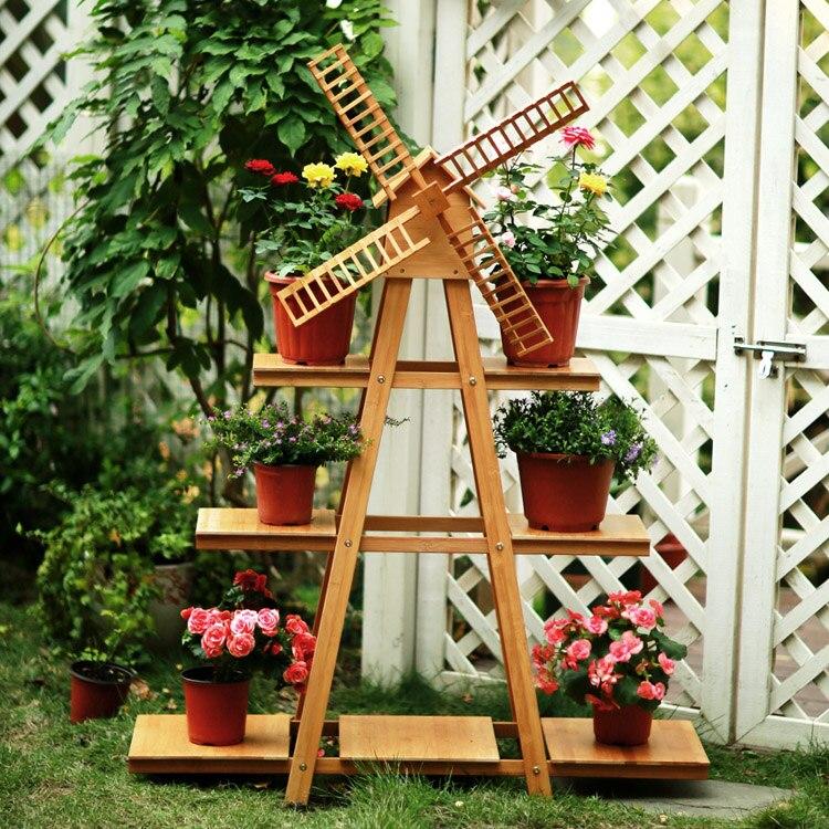 Твердой древесины балкон мельница цветок полка Творческий многослойная гостиная цветочный горшок стойку